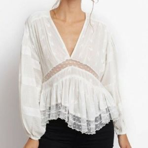 New Free People Nostalgic Feels Embroidered Top S